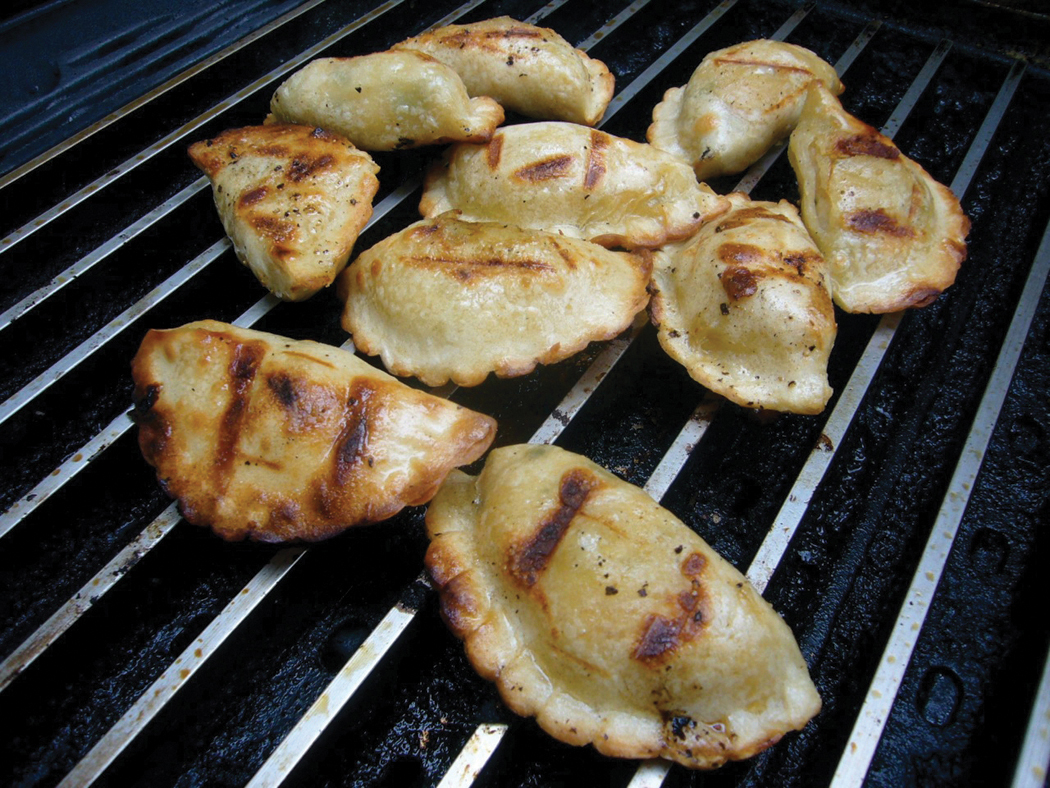 Grilled pot stickers